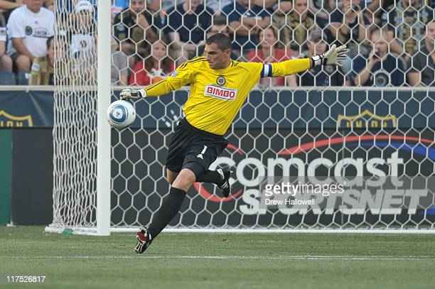 Faryd Mondragon of the Philadelphia Union in action during the game against Sporting Kansas City at PPL Park on June 22 2011 in Chester Pennsylvania