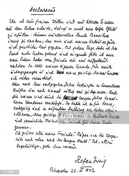 Fascimile of StefanZweig's last messagePetropolis 22021942SZ Austrian writer biographer diarist essayist novelist playwright poet translator 28...
