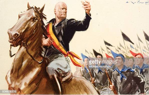 Fascist blackshirts led by Benito Mussolini who declares 'Make all the ...