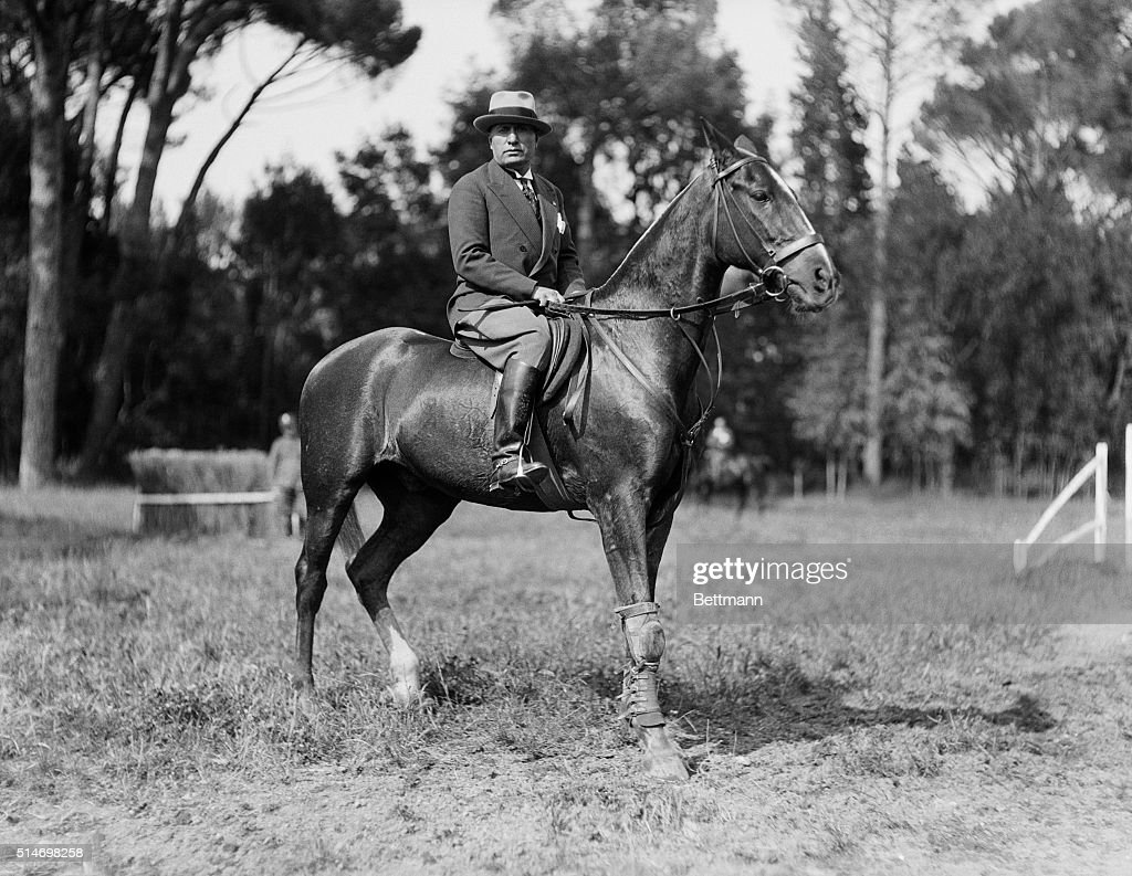 Fascist dictator <a gi-track='captionPersonalityLinkClicked' href=/galleries/search?phrase=Benito+Mussolini&family=editorial&specificpeople=90389 ng-click='$event.stopPropagation()'>Benito Mussolini</a> rides a horse on the grounds of his villa in Rome.