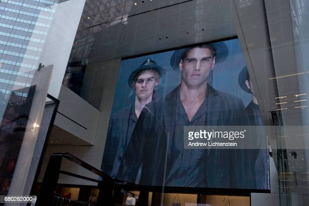 A fashion add on a video store plays inside the Armani store on 5th Avenue on February 14 2017 in New York City The area around Trump Tower in...