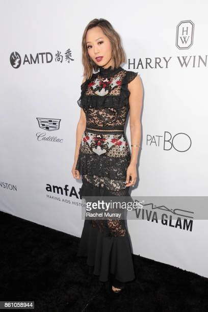 Fashion and interior design blogger Aimee Song attends the amfAR Gala Los Angeles 2017 at Ron Burkle's Green Acres Estate on October 13 2017 in...