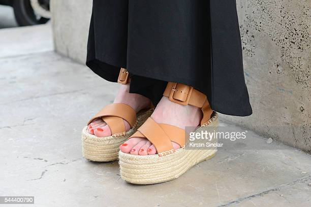 Fashion Blogger Alice Zielasko wears Tony Bianco shoes and vintage trousers on day 3 of Paris Collections Men on June 24 2016 in Paris France Alice...