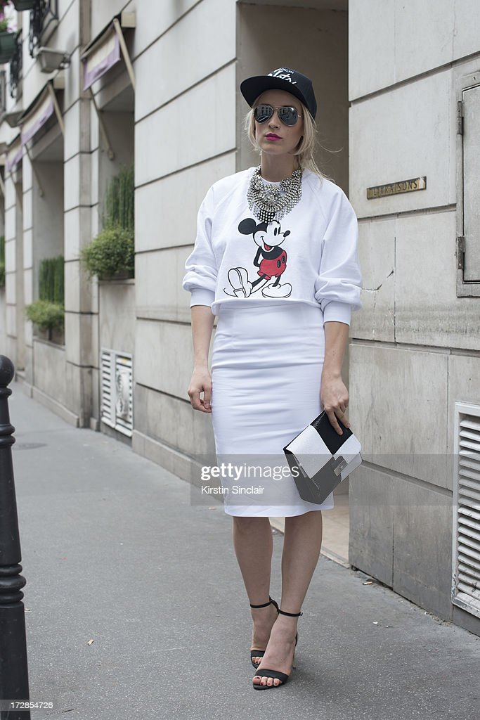 Fashion Blogger Alina Tanasa wears J Crew jewellery, zara sweater skirt and shoes, Louis Vuitton bag and Ray Ban sunglasses sighting on day 2 of Paris Collections: Womens Haute Couture on July 02, 2013 in Paris, France.