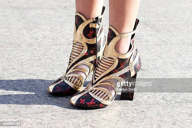 Fashion Blogger Amanda Shadford wears Louis Vuitton shoes at MercedesBenz Fashion Week Australia 2015 at Carriageworks on April 16 2015 in Sydney...