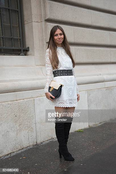 Fashion Blogger Anabel Maldonado wears a Temperley dress Chloe bag and Kurt Geiger boots on day 7 during Paris Fashion Week Autumn/Winter 2016/17 on...
