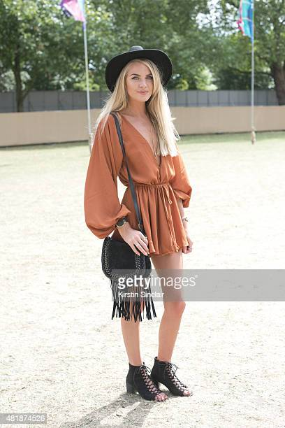Fashion blogger and beautician Kristy Green wears an H and M hat Mermaid Blonde boutique playsuit Public Desire shoes Primark bag and a UK Glamourous...