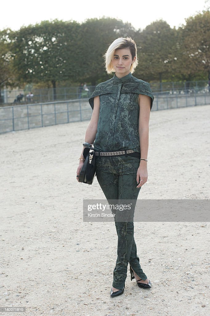 Fashion Blogger and Designer for The Kooples Anne-Catherine Frey wears a Balenciaga top, trousers and shoes and an Alexander Wang bag on day 3 of Paris Fashion Week Spring/Summer 2014, Paris September 26, 2013 in Paris, London.