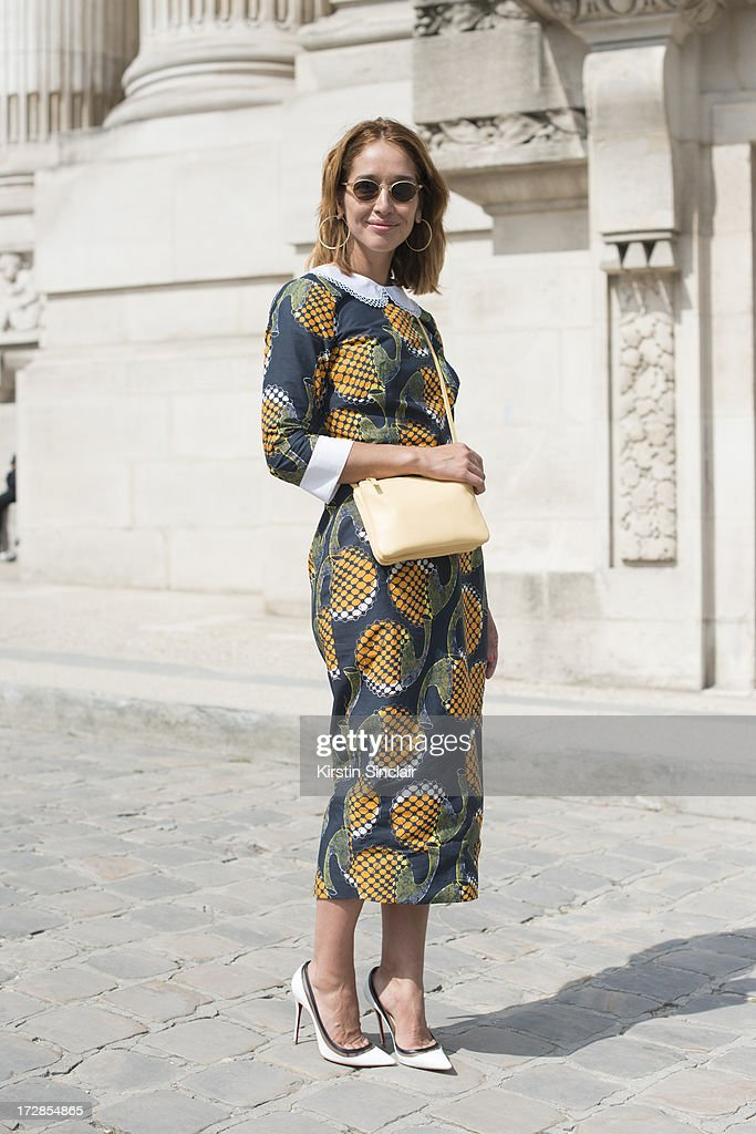 Fashion Blogger and Journalist Tiany Kiriloff wears a Celine bag, Christian Louboutin shoes, Stella Jean dress and Alain Afflelou sunglasses on day 2 of Paris Collections: Womens Haute Couture on July 02, 2013 in Paris, France.