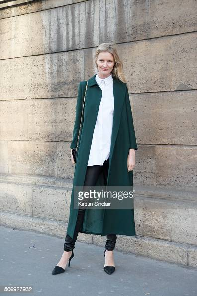 Fashion blogger and model Candace Lake wears a Dice Kayak coat and shirt Helmut Lang jeans Jimmy Choo bag and Alexander Wang shoes on day 2 of Paris...