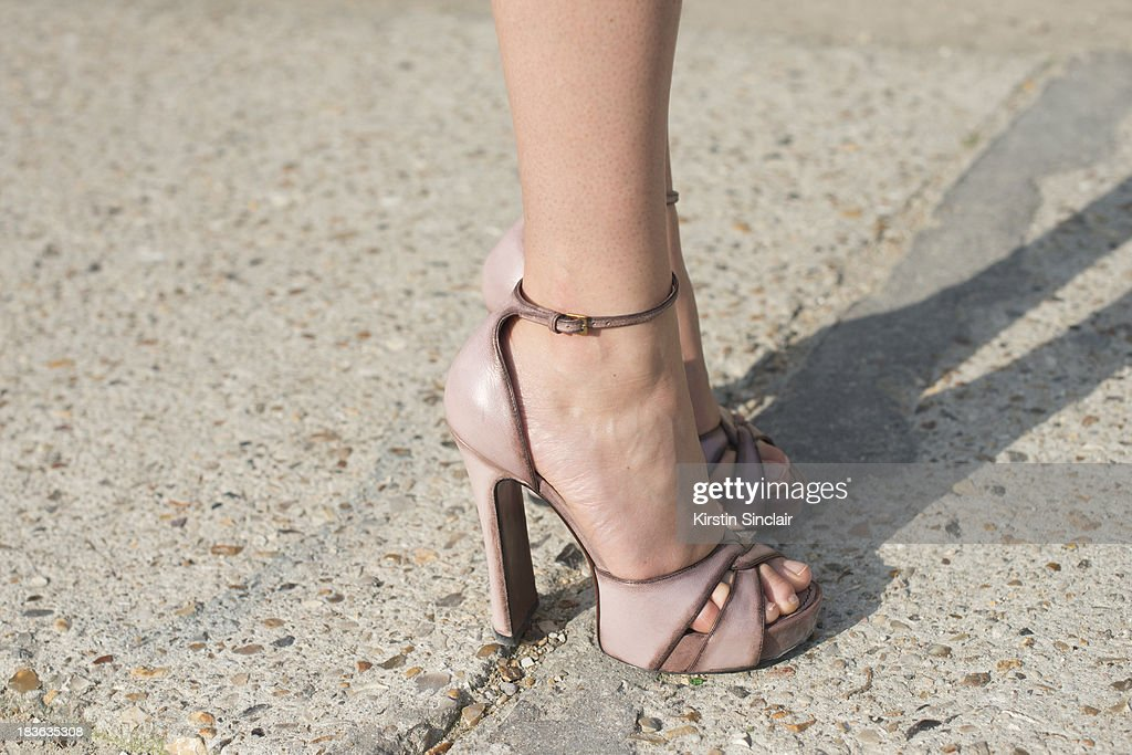 Fashion blogger and model Hanneli Mustaparta wearing Louis Vuitton shoes on day 9 of Paris Fashion Week Spring/Summer 2014, Paris October 02, 2013 in Paris, France.