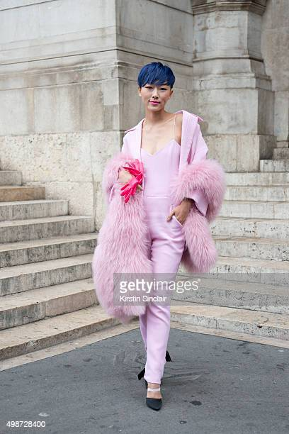 Fashion blogger and Model Liuxi Liu wears a Pascal Miller jacket trousers and top on day 7 during Paris Fashion Week Spring/Summer 2016/17 on October...
