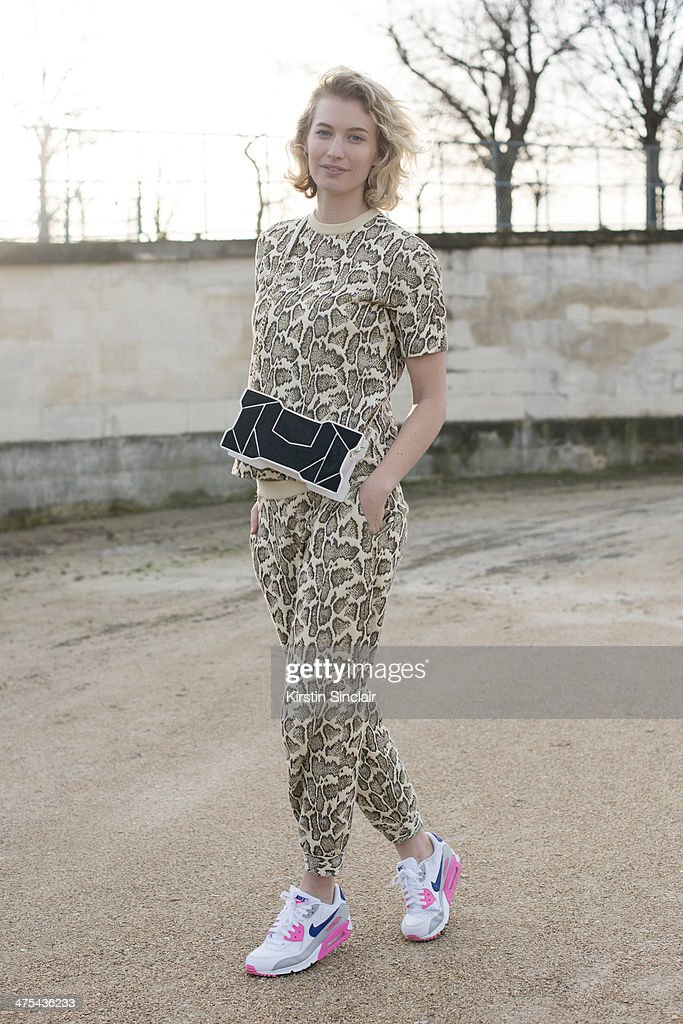 Fashion Blogger and Photographer Zanita Morgan wears a Stella McCartney top and trousers, Nike trainers and Octa bag on day 3 of Paris Collections: Women on February 27, 2014 in Paris, France.