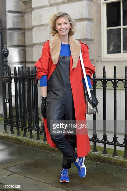 Fashion Blogger and Photographer Zanita Morgan wears a Vintage coat and Dungarees Kenzo bag Nike trainers and Yvonne Kane gloves on day 2 of London...