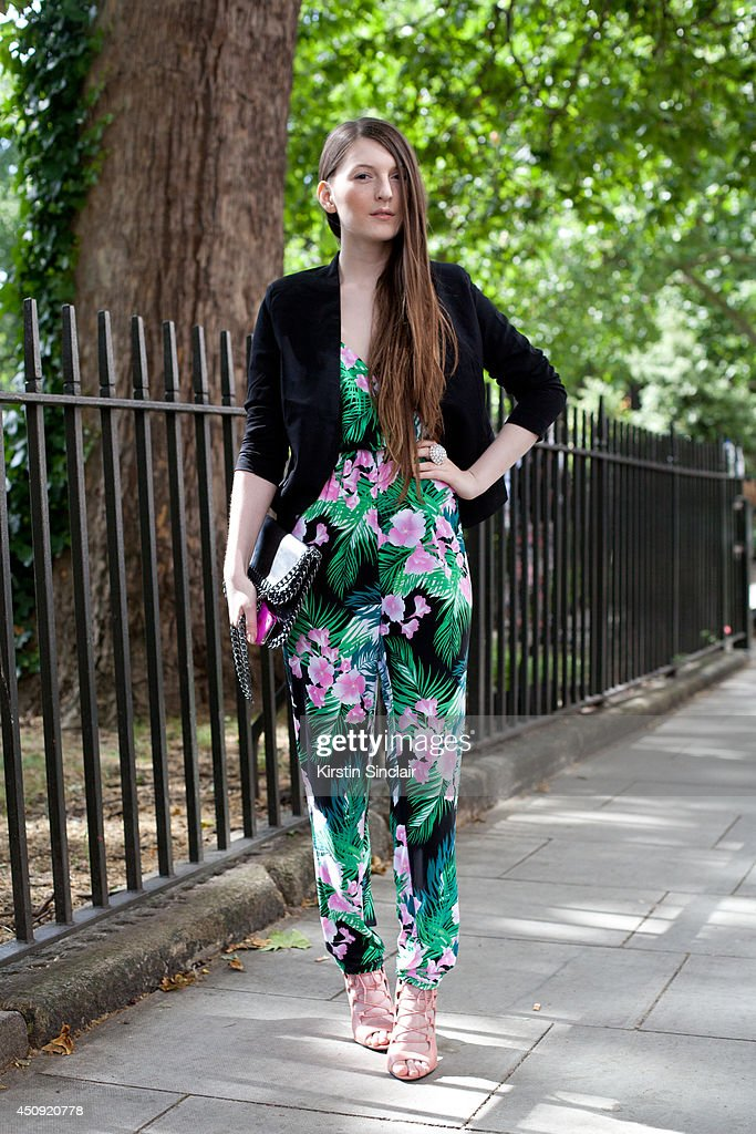 Fashion Blogger and Stylist Magda Wieclaw wears Ebay shoes, jacket and bag and Primark jumpsuit on day 3 of London Collections: Men on June 17, 2014 in London, England.