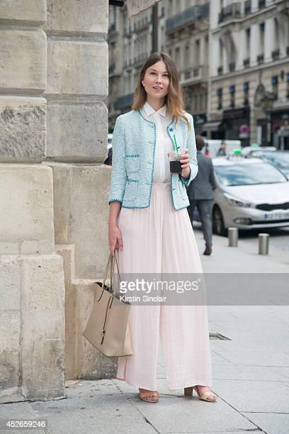 Fashion Blogger Angelica Ardasheva wearing a Zara top jacket and skirt Mango shoes and Gianni Chiarini bag day 2 of Paris Haute Couture Fashion Week...