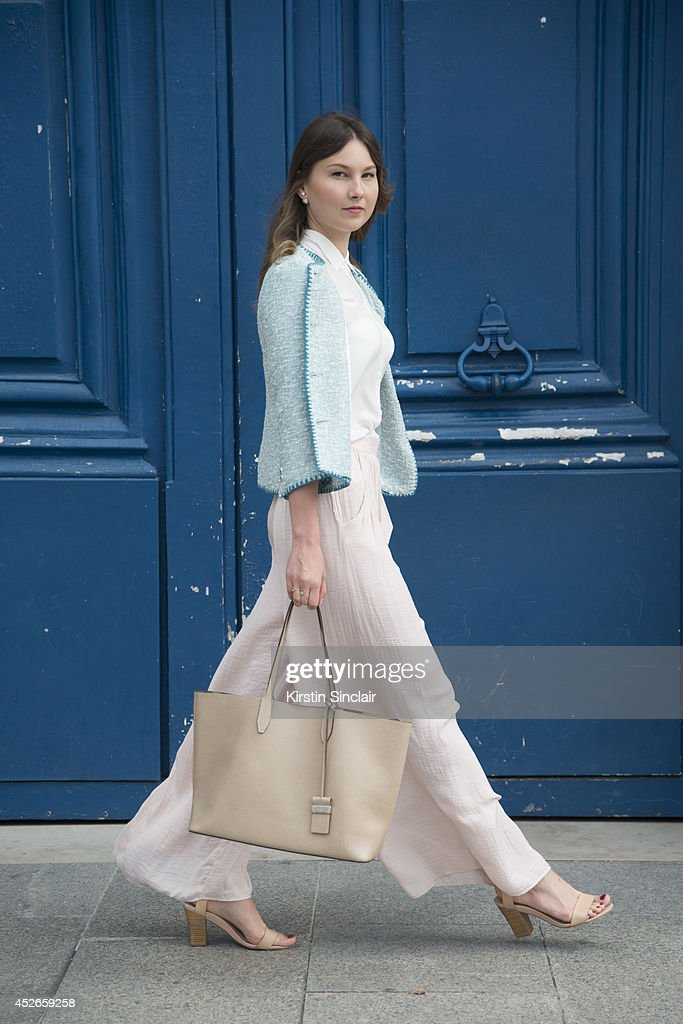 Fashion Blogger Angelica Ardasheva wearing a Zara top, jacket and skirt, Mango shoes and Gianni Chiarini bag day 2 of Paris Haute Couture Fashion Week Autumn/Winter 2014, on July 7, 2014 in Paris, France.