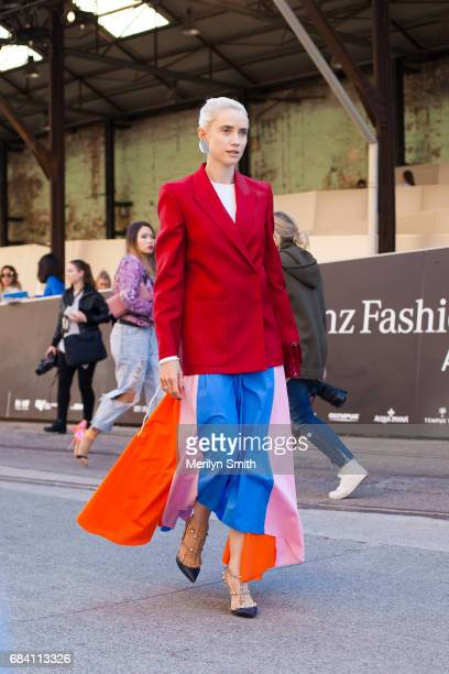 Fashion Blogger Beth Levis wearing a Dion Lee top Acne jacket and Valentino shoes during MercedesBenz Fashion Week Resort 18 Collections at...