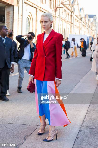Fashion Blogger Beth Levis wearing a Dion Lee top Acne jacket Valentino shoes and Dior bag during MercedesBenz Fashion Week Resort 18 Collections at...