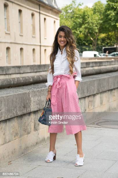Fashion blogger Blabbermooth wears Asos trainers Zara trousers Dior bag Dolce and Gabbana shirt and an Hermes necklace day 2 of Paris Haute Couture...