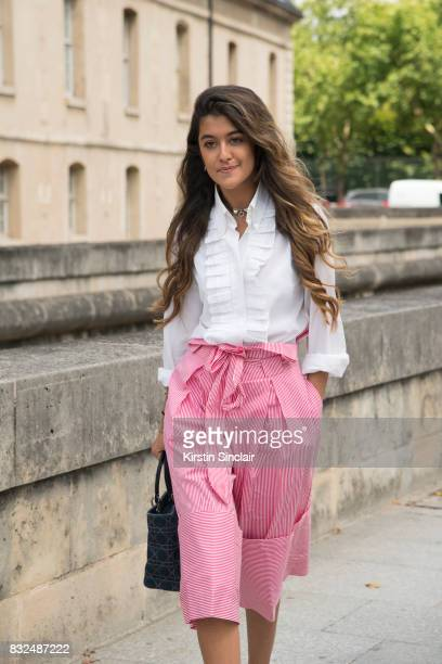 Fashion blogger Blabbermooth wears Zara trousers Dior bag Dolce and Gabbana shirt and an Hermes necklace day 2 of Paris Haute Couture Fashion Week...