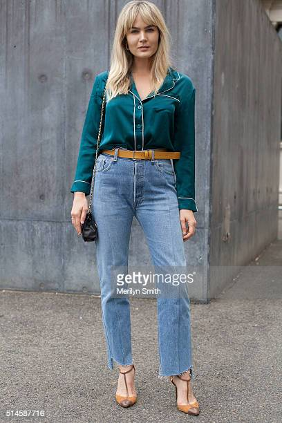 Fashion Blogger Brooke Tessoni wearing Vetements jeans Sergio Rossi shoes vintage top and vintage Chanel bag during the 2016 Melbourne Fashion...