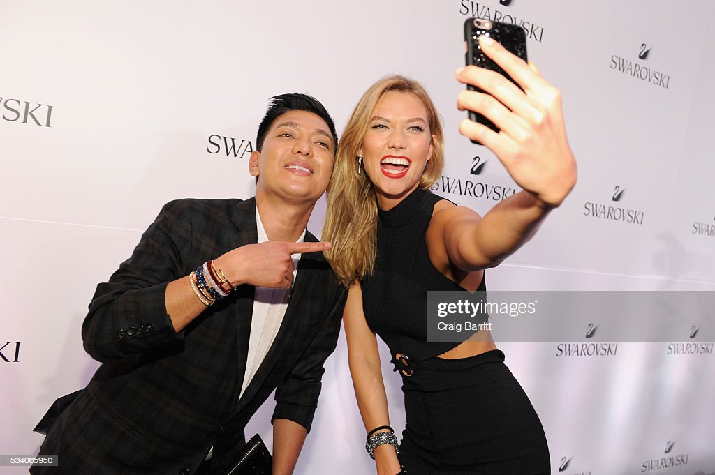 Fashion blogger Bryanboy and Swarovski brand ambassador <a gi-track='captionPersonalityLinkClicked' href=/galleries/search?phrase=Karlie+Kloss&family=editorial&specificpeople=5555876 ng-click='$event.stopPropagation()'>Karlie Kloss</a> attend Swarovski #bebrilliant at The Weather Room at the Top of the Rock on May 24, 2016 in New York City.