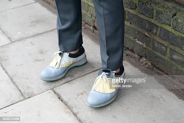 Fashion blogger Bryanboy wears Prada shoes and Valentino trousers on day 4 of London Collections Men on Januay 11 2016 in London England Bryanboy