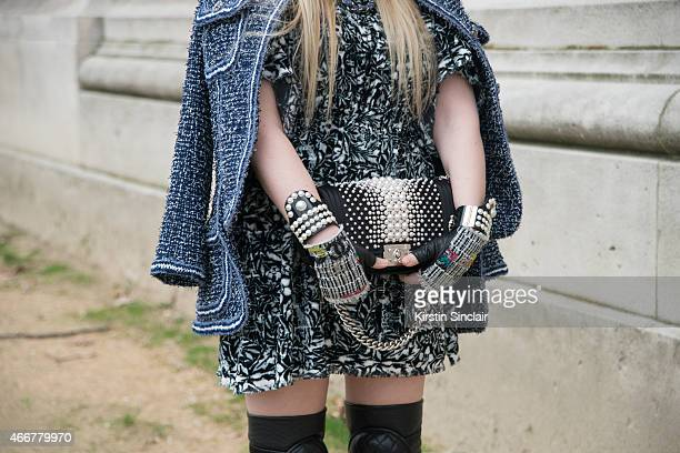 Fashion blogger Cailli Beckerman wears all Chanel on day 8 of Paris Collections Women on March 10 2015 in Paris France