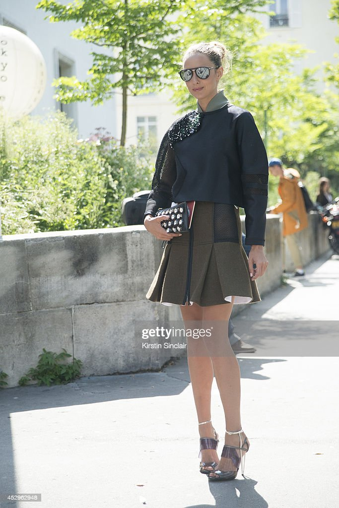 Fashion Blogger Candela Novembre wearing a Marni bag, Moncler sunglasses and everything else Fendi day 3 of Paris Haute Couture Fashion Week Autumn/Winter 2014, on July 8, 2014 in Paris, France.