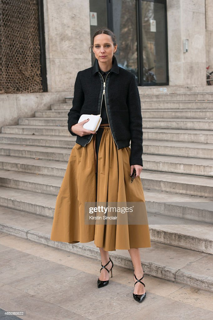 Fashion blogger Candela Novembre wears Rochas skirt and bag on day 2 of Paris Collections: Women on March 04, 2015 in Paris, France.