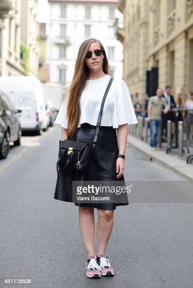 Fashion blogger Carola de Armas is seen wearing Zara top HM skirt Zara shoes and Phillip Lim bag after Gucci show on June 23 2014 in Milan Italy