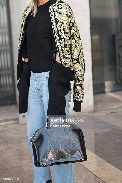 Fashion blogger Celine Aagaard wears Rochas jacket Louis Vuitton bag Vetements Jeans and a Celine top on day 2 during Paris Fashion Week...