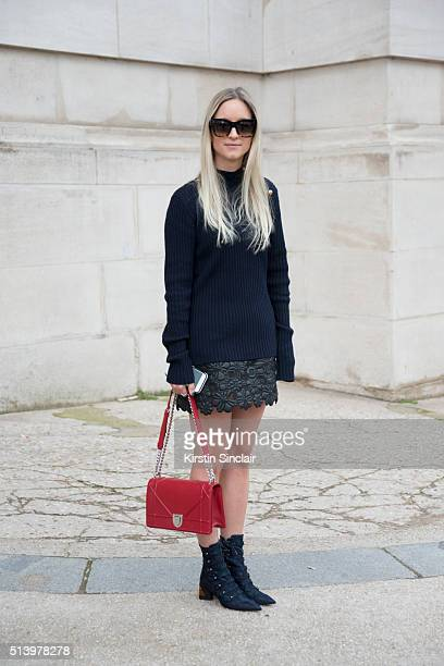 Fashion blogger Charlotte Groeneveld wears a Dior bag and shoes Elie Saab skirt Celine sunglasses and Baum und Pferdgarden sweater on day 5 during...