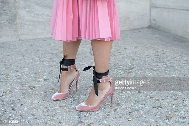 Fashion Blogger Charlotte Groeneveld wears Jimmy Choo shoes and a Tome skirt on day 3 during Paris Fashion Week Spring/Summer 2016/17 on October 1...