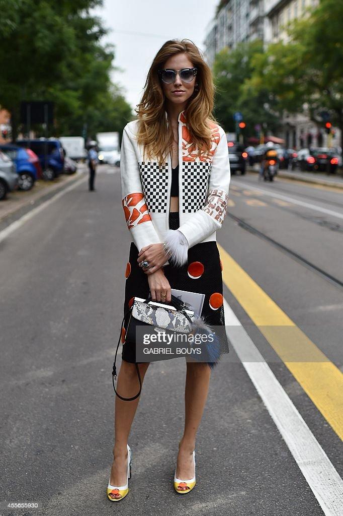 Fashion blogger Chiara Ferragni poses outside the Fendi show during the 2015 Spring / Summer Milan Fashion Week on September 18 2014 in Milan AFP...