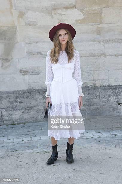 Fashion Blogger Chiara Ferragni wears a Philosophy dress on day 5 during Paris Fashion Week Spring/Summer 2016/17 on October 3 2015 in Paris France
