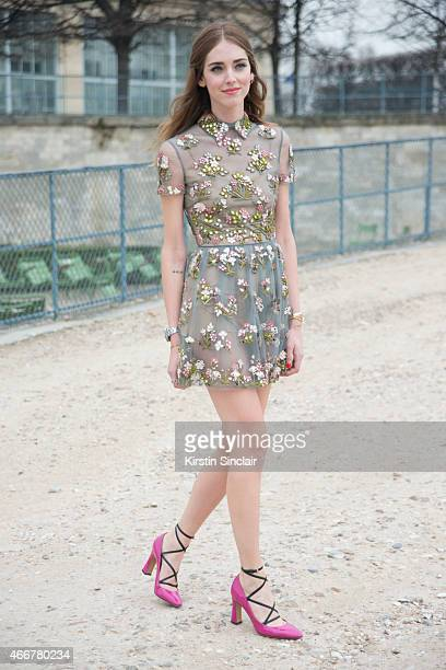 Fashion Blogger Chiara Ferragni wears a Valentino dress and shoes on day 8 of Paris Collections Women on March 10 2015 in Paris France