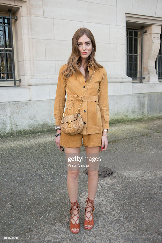 Fashion blogger Chiara Ferragni wears all Chloe at the Chloe show on day 6 of Paris Collections Women on March 08 2015 in Paris France