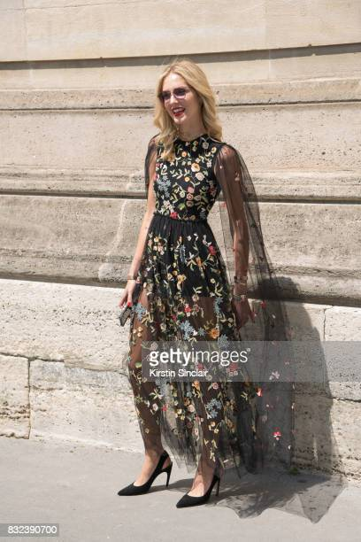 Fashion Blogger Chiara Ferragni wears all Dior day 2 of Paris Haute Couture Fashion Week Autumn/Winter 2017 on July 3 2017 in Paris France