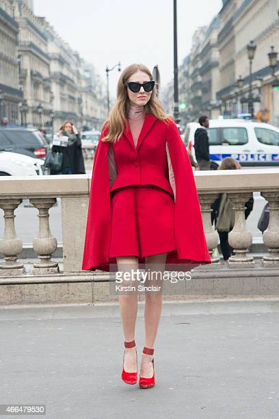 Fashion blogger Chiara Ferragni wears Delpozo suit and cape and Celine sunglasses on day 7 of Paris Collections Women on March 09 2015 in Paris France