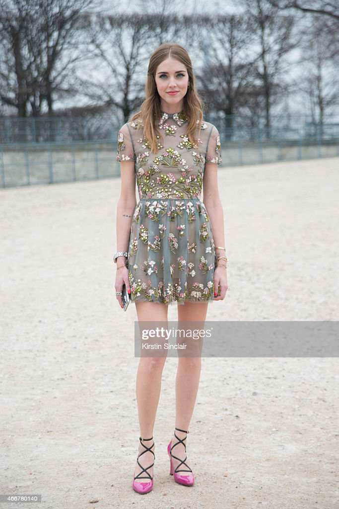 Fashion Blogger Chiara Ferragni wears Valentino dress and shoes on day 8 of Paris Collections Women on March 10 2015 in Paris France