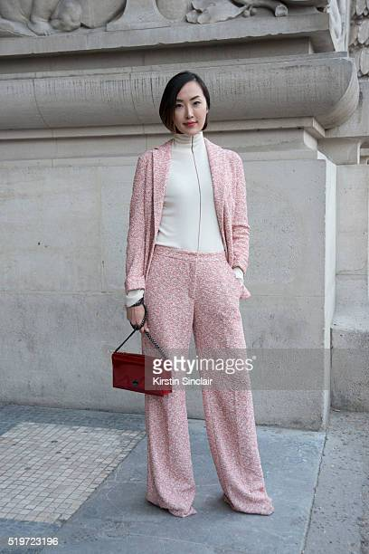 Fashion Blogger Chriselle Lim wears all Akris on day 6 during Paris Fashion Week Autumn/Winter 2016/17 on March 6 2016 in Paris France Chriselle Lim