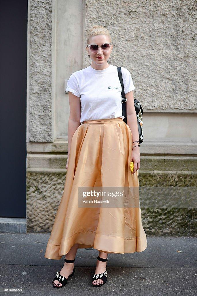 Fashion blogger Daria Kunilovskaya is seen wearing a Maison La Bichetshirt Blue Blue skirt Fendi sunglasses and Prada shoes after Prada show on June...