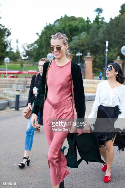 Fashion Blogger Dasha Gold wearing Bec and Bridge dress Isabella Quinn coat Gucci bag Thom Browneny sunglasses and Amber Sceats jewellery during...