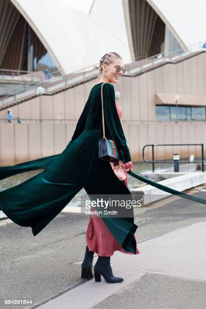 Fashion Blogger Dasha Gold wearing Bec and Bridge dress Isabella Quinn coat Wittner shoes Gucci bag Thom Browneny sunglasses and Amber Sceats...