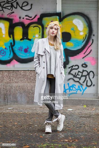Fashion Blogger Ebba Zingmark wearing jeans Cheap Monday coat Urban Outfitters sweater Promod shoes Timberland on December 10 2015 in Berlin Germany