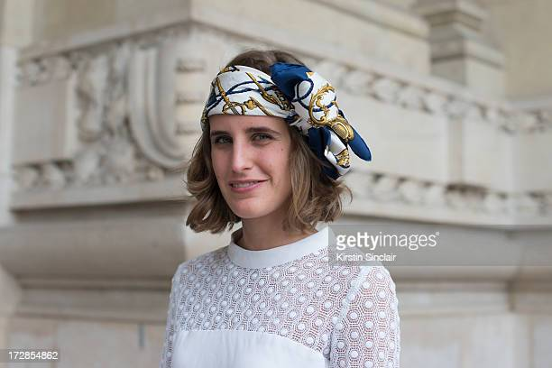 Fashion Blogger Elena Cuesta wears a Vintage dress and an Hermes scarf on day 2 of Paris Collections Womens Haute Couture on July 02 2013 in Paris...