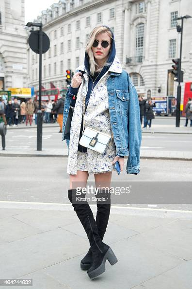 Fashion Blogger Elsa Ekman wears all River Island with a vintage denim jacket on day 3 of London Collections Women on February 22 2015 in London...
