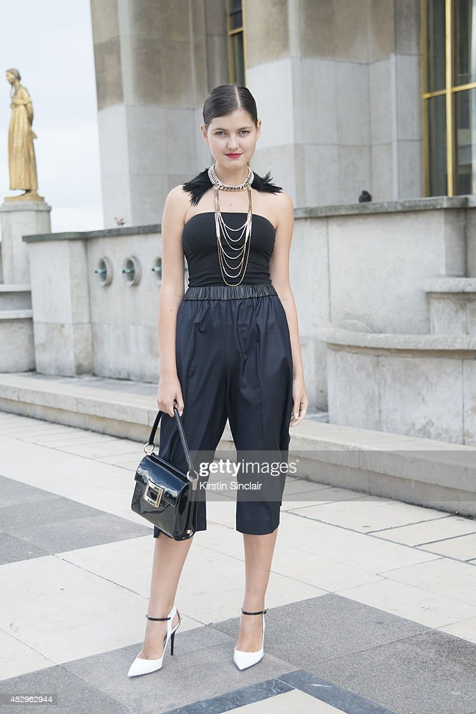 Fashion Blogger Elvira Abasova wearing a Roger Vivier bag, Jimmy Choo shoes, Sandro trousers and Toi et Moi necklace day 3 of Paris Haute Couture Fashion Week Autumn/Winter 2014, on July 8, 2014 in Paris, France.